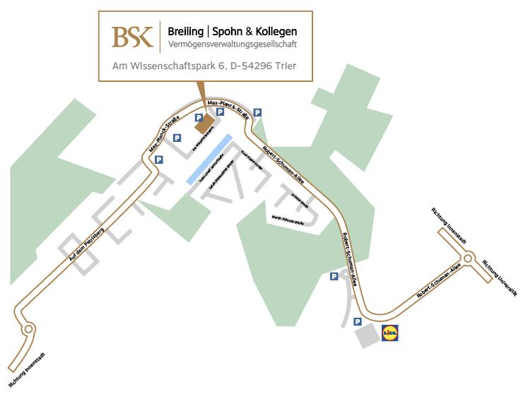 Anfahrtskarte zu unserem Standort in Trier